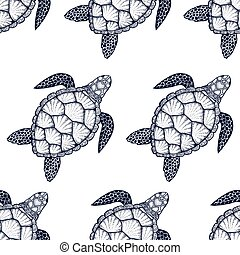 Seamless pattern with sea turtle in line art style. Hand...