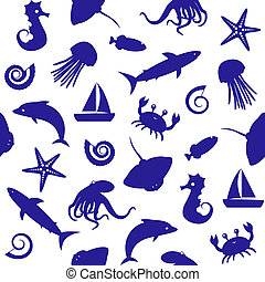 Seamless pattern with sealife silhouettes - Seamless...