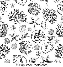 Seamless pattern with seashell