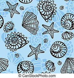 Seamless pattern with seashells on blue background. Vector ...
