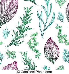 Seamless pattern with seasonings and herbs