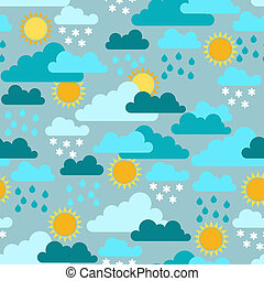 Seamless pattern with seasons and weather.