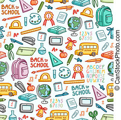 Seamless pattern with set of different school things in...