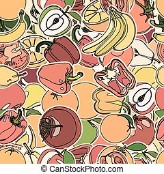 Seamless pattern with set of fruits and vegetation. Seamless...