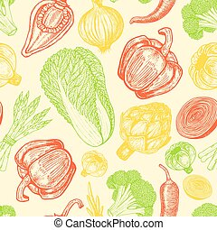 Seamless pattern with set of hand drawn elements. Sketch style fresh vegetables. Different peppers.