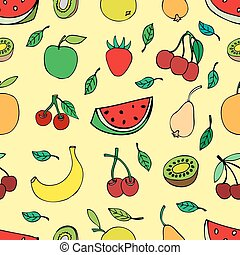 Seamless pattern with set of sweet fruits and berries. Apples, watermelon, grapes, bananas, kiwi, cherry. Food, fruit. Seamless texture. Doodle, cartoon drawing. Vector illustration
