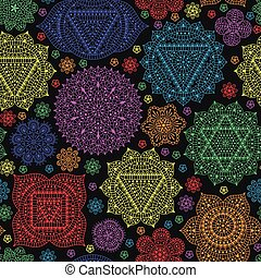 Seamless pattern with seven chakras