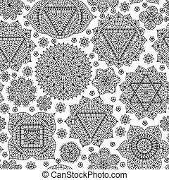 Seamless pattern with seven chakras