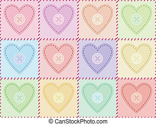 seamless pattern with sewed felt hearts