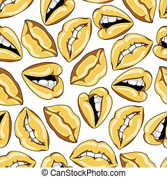 Seamless pattern with sexy golden lips