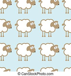 Seamless pattern with sheep on blue background.