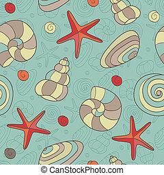 seamless pattern with shells and starfish