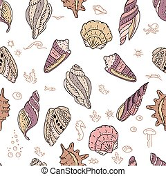 Seamless pattern with shells on white