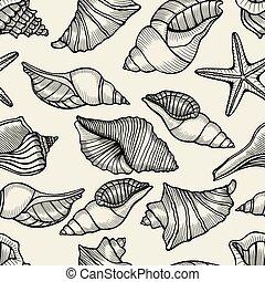 Seamless pattern with shells