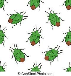 Seamless pattern with shield bug. Palomena prasina...