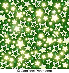 Seamless pattern with shining stars on green background