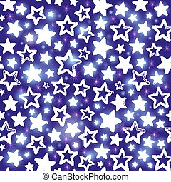 Seamless pattern with shining stars on purple background