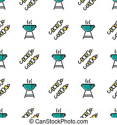 Seamless pattern with shish kebab and barbecue