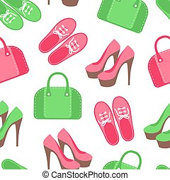Seamless pattern with shoes and handbags