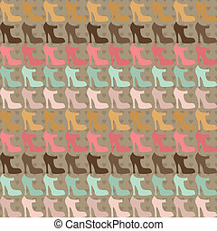 Seamless pattern with shoes in retro style.