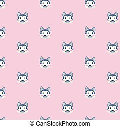 Seamless pattern with siberian husky.