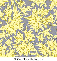 Seamless pattern with Silhouettes of Yellow illuminating Lily Flowers on Gray.