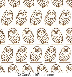 Seamless pattern with silhouettes owls