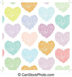 Seamless pattern with sketch hearts on a white background. Pastel color. Pink, blue, green, orange, purple color.