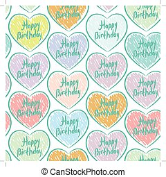 Seamless pattern with sketch hearts on a white background. Happy