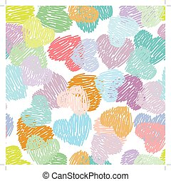 Seamless pattern with sketch hearts Pastel color on a white background
