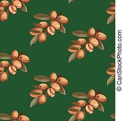 Seamless pattern with sketched argan, branch sketch. Colored. VECTOR art. Green.