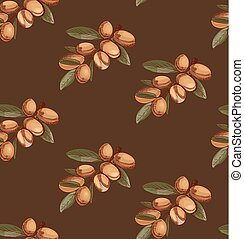 Seamless pattern with sketched argan, branch sketch. Colored. VECTOR art.
