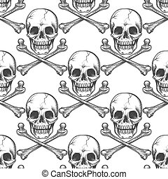 Seamless pattern with sketched skull