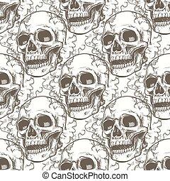 Seamless pattern with skull and smoke