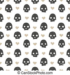 Seamless pattern with skulls and hearts. Modern abstract wallpaper. Vector illustration.