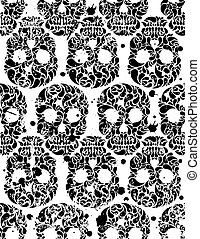 Seamless pattern with skulls - Black and white seamless...