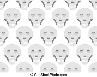 Seamless pattern with skulls on a white background. Vector illustration