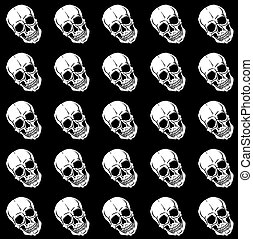 Seamless pattern with skulls over black background