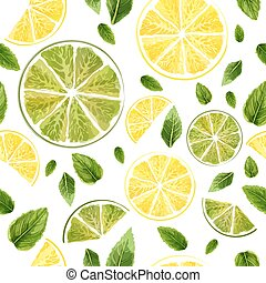 Seamless pattern with slices of lime, lemon and mint leaves on white background. Watercolor collection