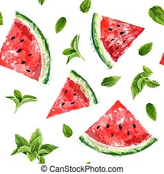 Seamless pattern with slices of watermelon and meant leaves on white background. Summer concept. Vector watercolor