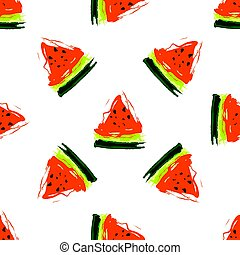 Seamless pattern with slices of watermelon on a white background