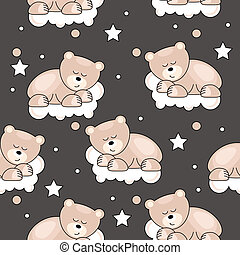 Seamless pattern with small bear sleeping on cloud