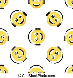 Seamless pattern with Smiling face emoji and large Ear Headphones