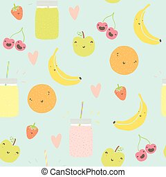 Seamless pattern with smoothie jars and funny smiling fruits...