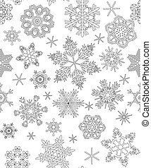 Seamless pattern with snowflakes, adult coloring