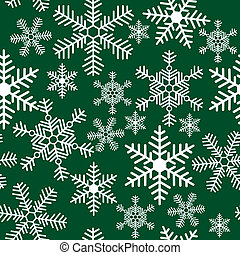 Seamless pattern with snowflakes on a green background