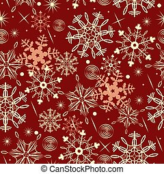 Seamless pattern with snowflakes on a red background. Vector graphics.