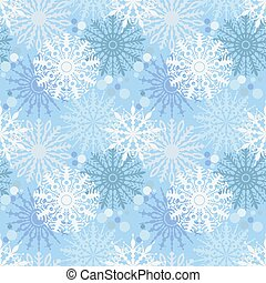 Seamless pattern with snowflakes on blue background. Backdrop, textile, wrapper. Desing for Christmas and New Year greeting card, web, packaging