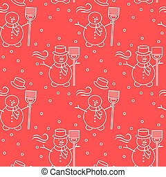 Seamless pattern with snowman, broom, hat, wind.