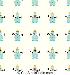 Seamless Pattern with Snowman in flat style